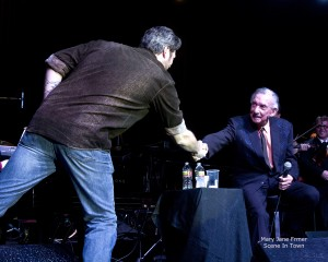 Blakek Shelton shakes hands with Ray Price, 2013, at Choctraw Casino CenterStage