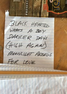 Buffalo Ruckus set list, photo by Houston Hall